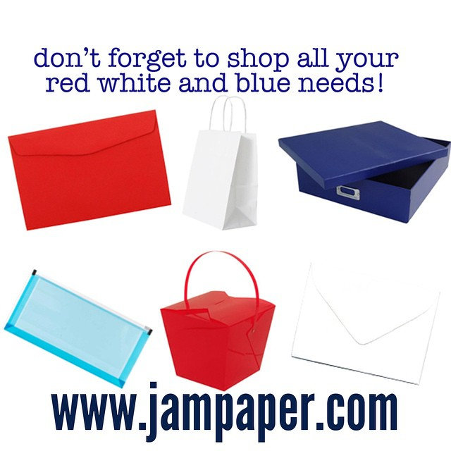 Shop JAM! Www.jampaper.com #shop #red #white #blue #products #mdw #weekend #officesupplies #envelopes #paper #fun
