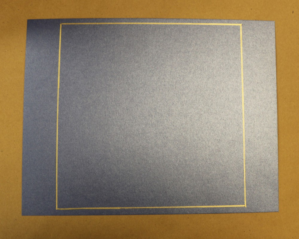 Blue cardstock, gold square drawn on