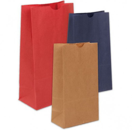 kraft paper bags in different sizes and colors