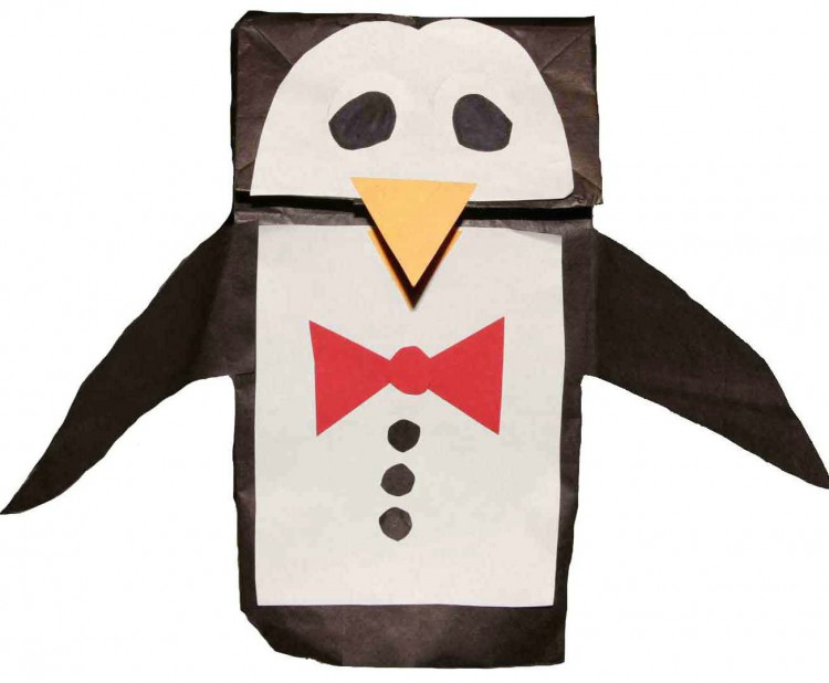 penguin paper bag puppet template penguin paper bag puppet template