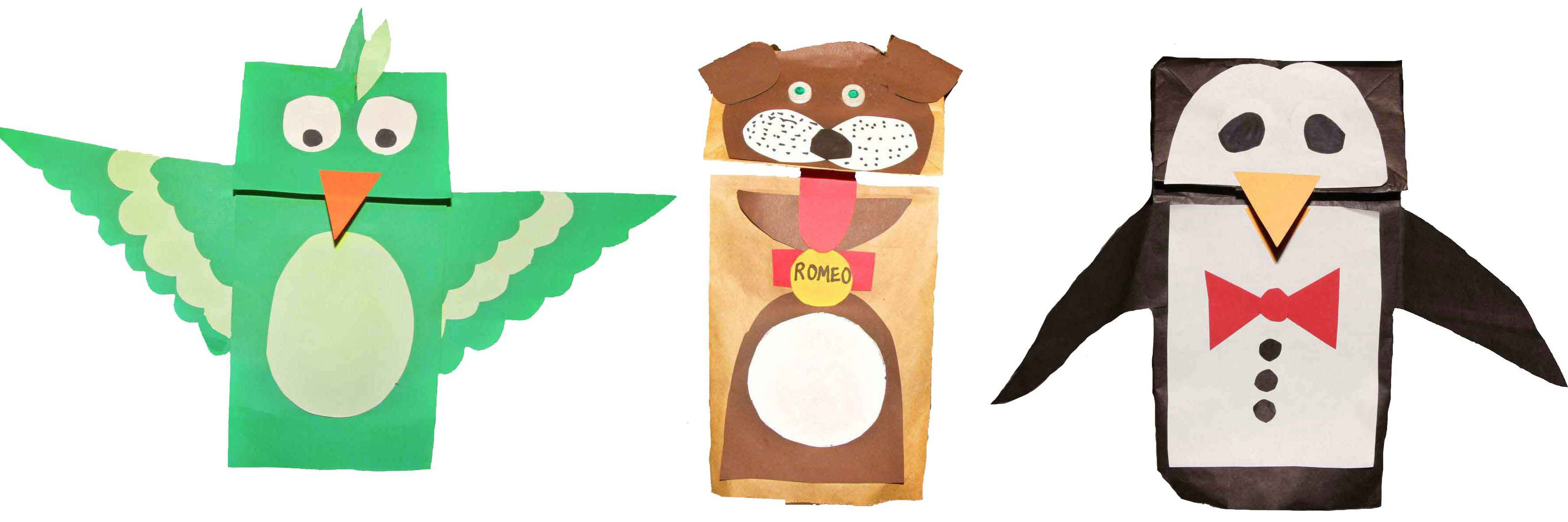 paper puppets Directions and printable template for preschool, kindergarten and elementary school children to make a paper bag mouse puppet.