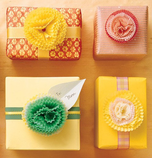 colorful creative gift bow idea Cupcake Liner Gift Bows on gift boxes