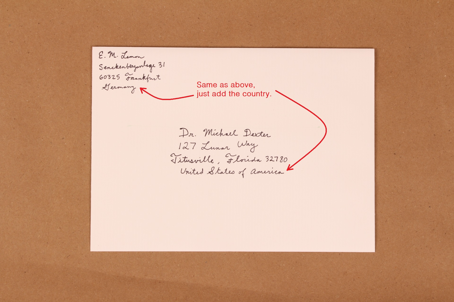 Sample Envelope with Attn