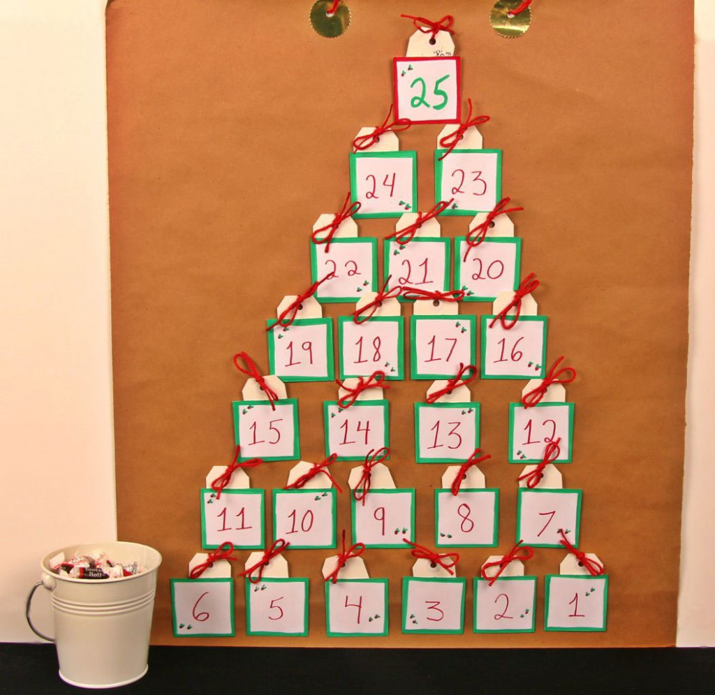 Diy Kins Advent Calendar : Homemade advent calendar kraft paper candy