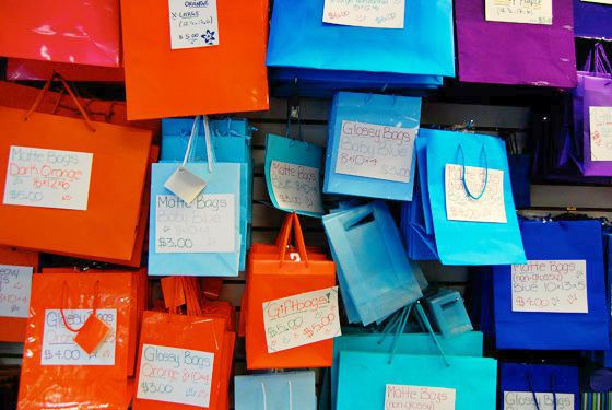 Assorted color gift bags