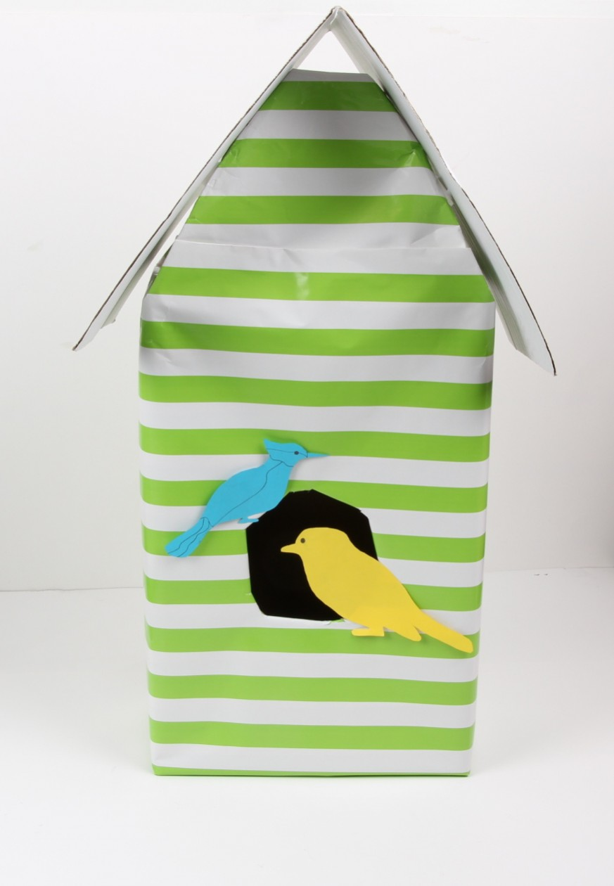 diy birdhouse wrapped shoe box with paper birds