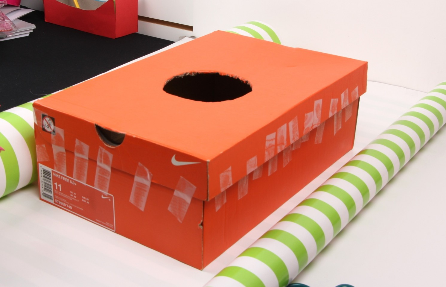 Earth day craft diy shoe box birdhouse jam blog for What can i make with boxes