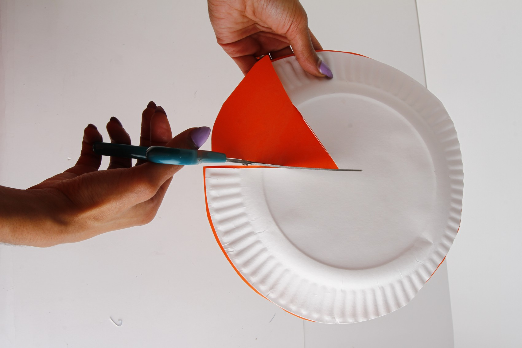 Cut shape out of paper plate