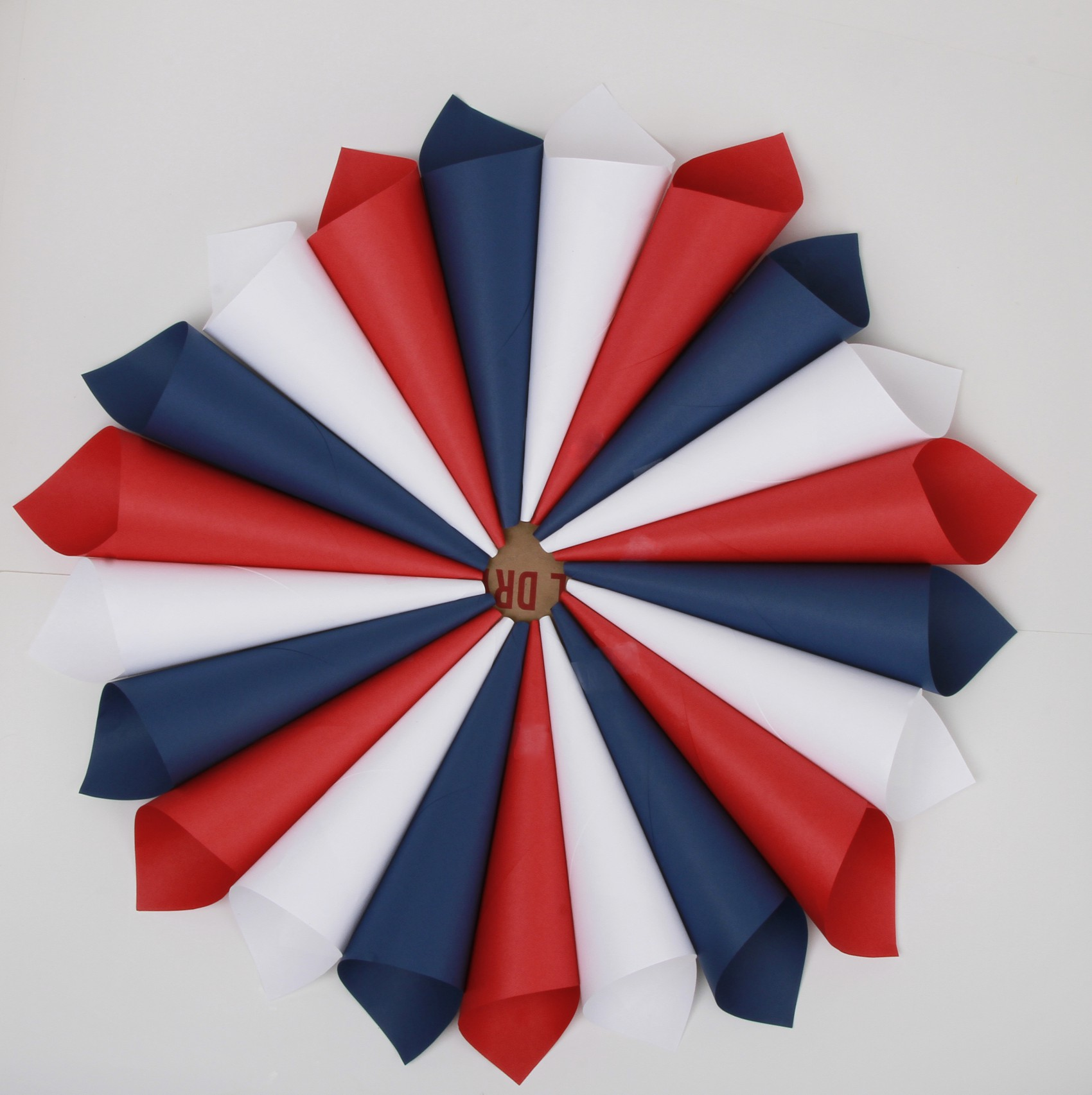 Red, white and blue color wheel