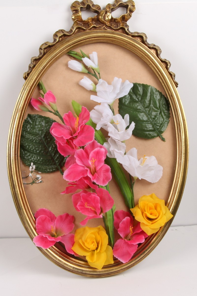 Completed DIY Bridal Shower Broken Mirror Craft with colorful silk flowers