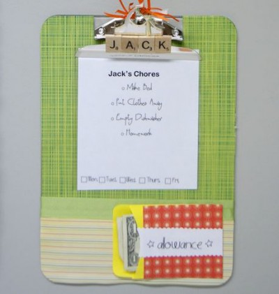 decorated green clipboard with list of chores