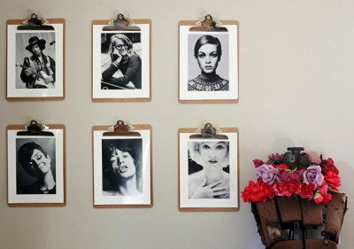 diy picture frames with black and white portrait photos on wall
