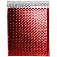 red metallic bubble mailer