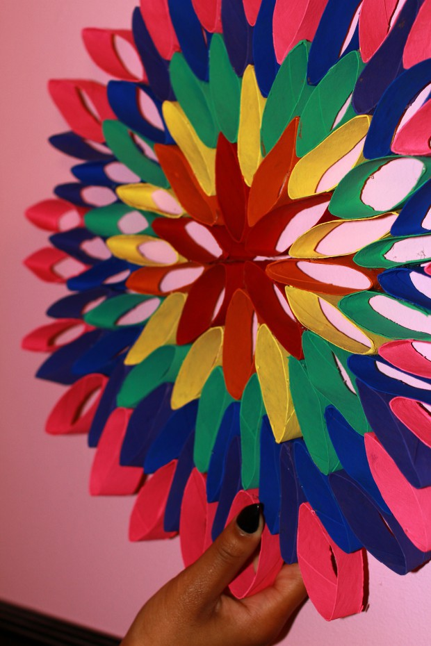 Completed rainbow flower toilet paper roll craft