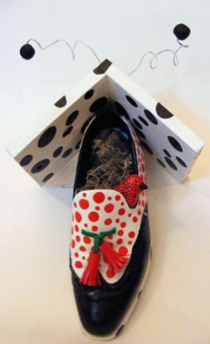 black and white shoe, red polka dots, bird