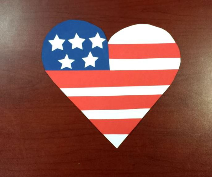 labor day paper craft american flag heart