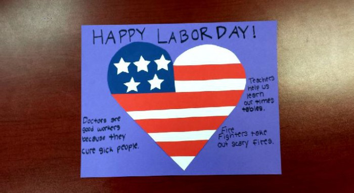 labor day paper craft american flag heart glued to blue poster