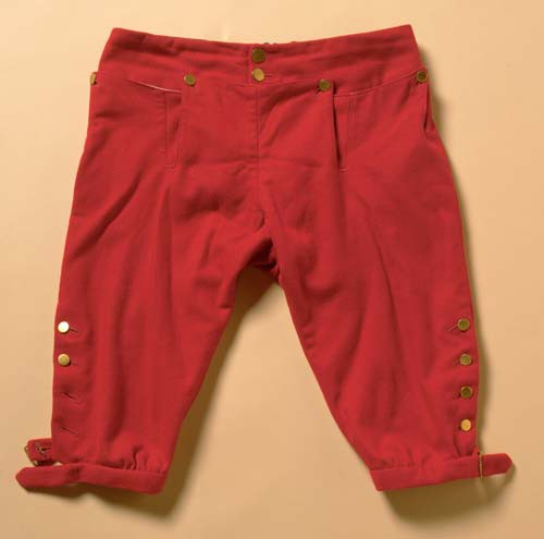 red breeches with gold buttons on beige background