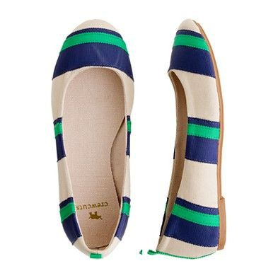 crewcuts cream flats with blue and green grosgrain ribbon stripes
