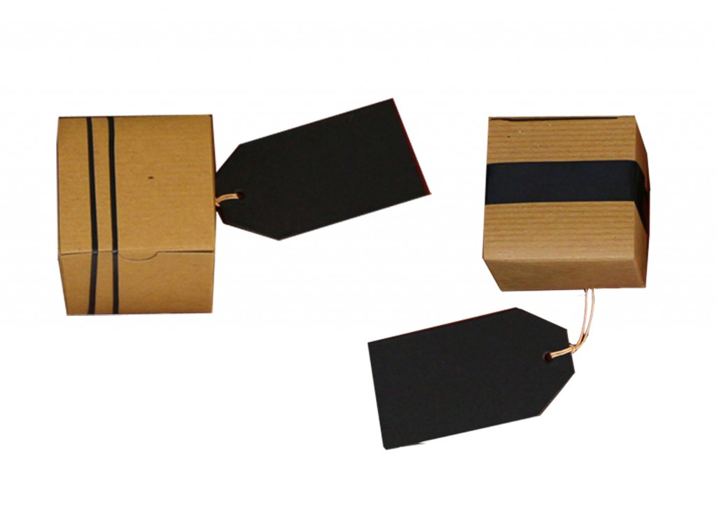 small boxes, rubber bands, tags