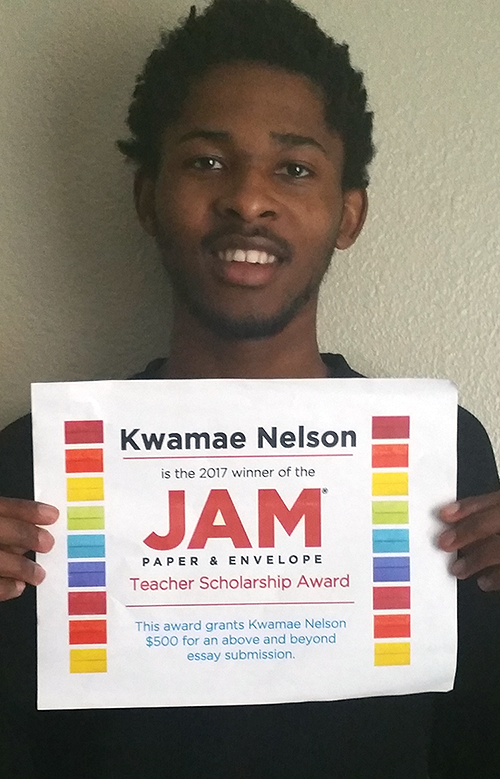 Kwamae Nelson, JAM Paper's 2017 Teacher Scholarship Winner
