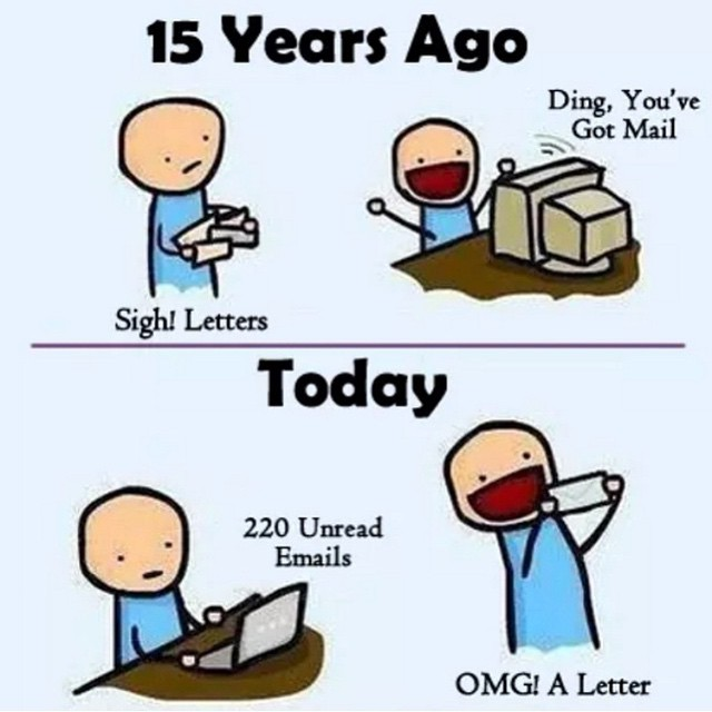 How true! #letters #letterwriting #fun #funny #officehumor #cards #aol #oldschool #mail #mailing #envelopes #emails