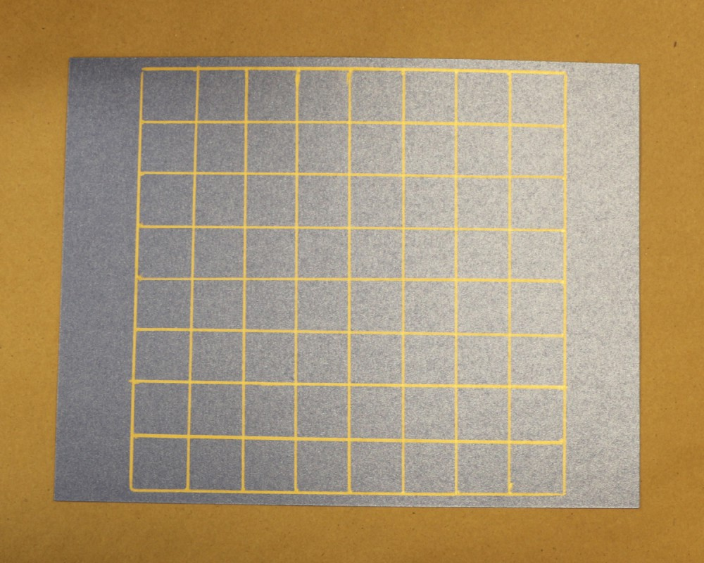 gold grid on blue card stock - checkerboard