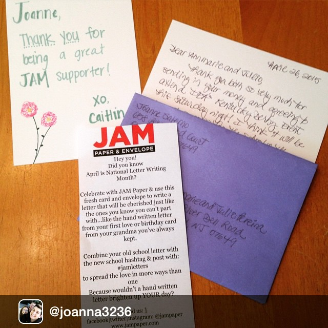 Letters never go out of style ! Another hand written note being mailed out!  #letters #letterwriting #april #envelopes #jampaper #cool #fun #mail Repost from @joanna3236 via @igrepost_app, April is National Letter Writing Month and JAM Paper's super spring colors have me more motivated than usual to do so! Thanks for the card & envelope, JAM Paper! @jampaper #jamletters