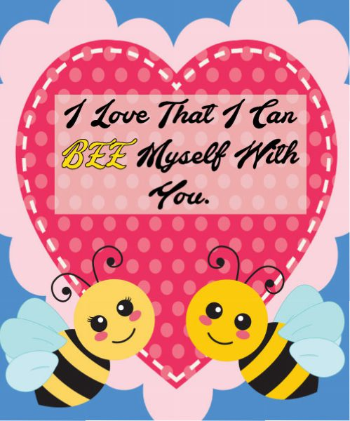 JAM's 2018 Free, Original, and Printable Valentines, Bees, animal puns, Valentines, heart, carton bees
