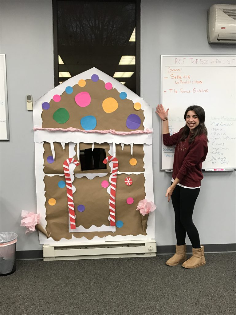 JAM employee, gingerbread house decor