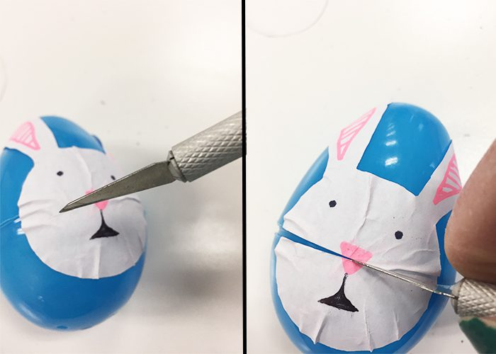 Easy DIY Easter Sticker Egg Decorations, Stciker, Bunny, Blue, egg, craft knife, cut to allow egg to open