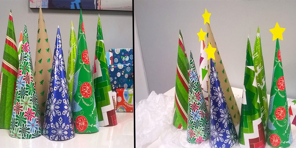Completed wrapping paper trees
