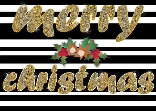 black and white stripe background with gold letters and holly center printable christmas cards
