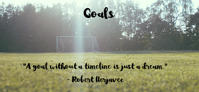 sunny soccer field with white goal post and trees with quote