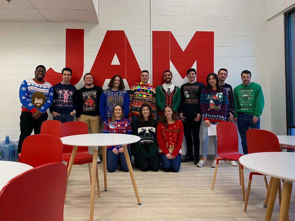 JAM employees, ugly sweater day