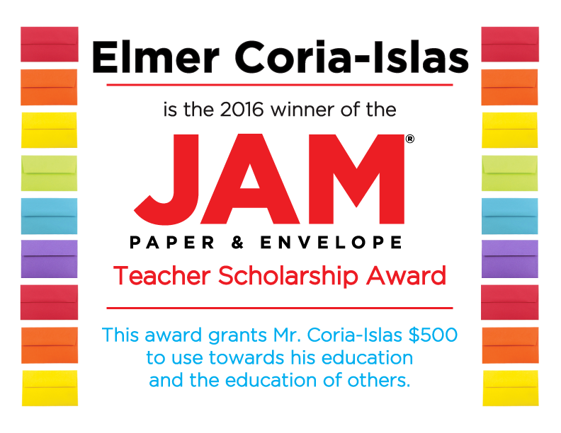 Jam paper teacher scholarship certificate with colorful envelopes and jam logo