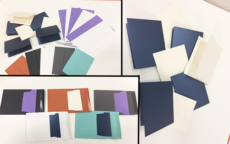 Three layered images of assorted colored envelopes