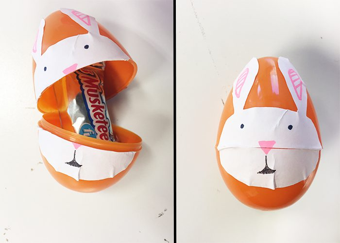 Easy DIY Easter Sticker Egg Decorations, Bunny, open, closed, egg, orange, candy