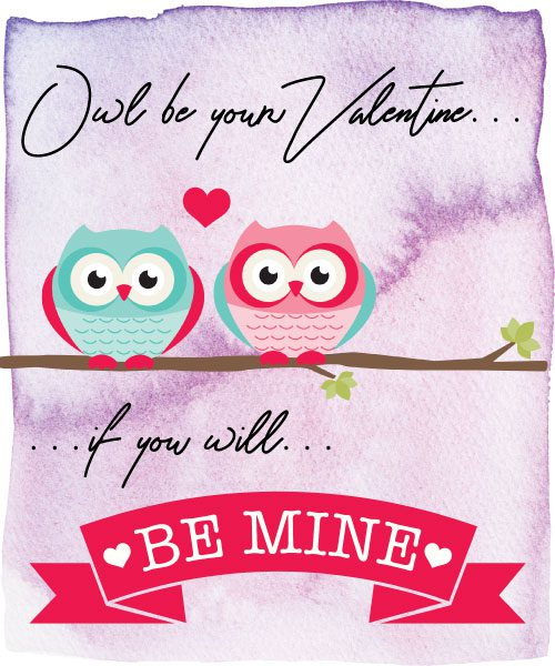 JAM's 2018 Free, Original, and Printable Valentines, Owls, Animal Puns, Valentines, Be Mine, pink and purple