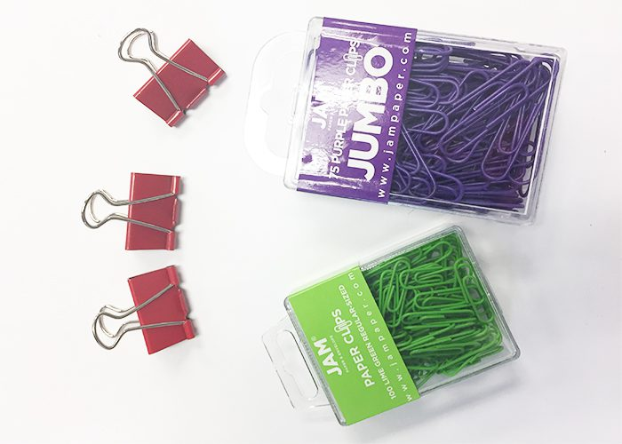 JAM's Official List of 10 Desk Essentials, paperclips, binder clips, green, purple, red