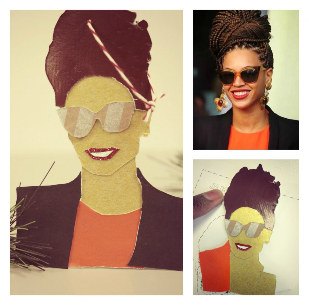 Beyonce ornament made from honey-colored metallic matte, earth tones, and red glitter wrapping paper