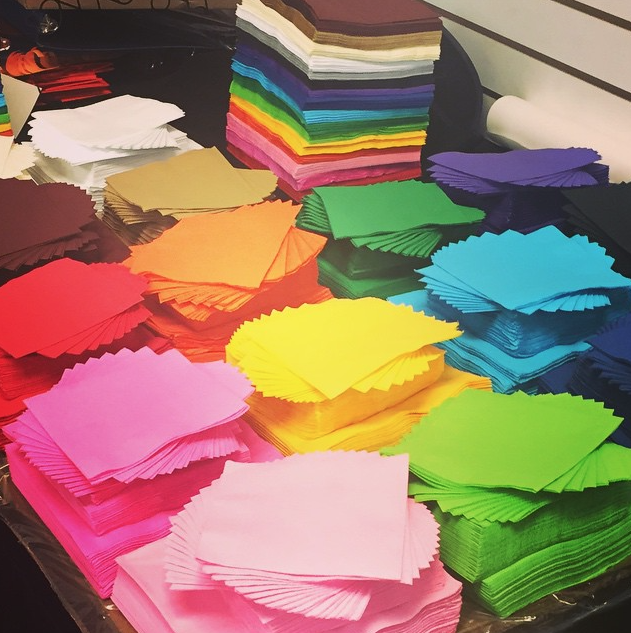 office supplies, colored paper