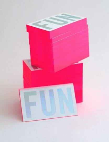 """Pink Business cards stacked - """"Fun"""""""