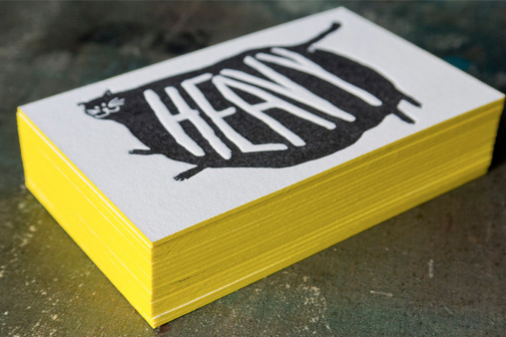 """Business card, white with fat cat - """"Heavy"""""""