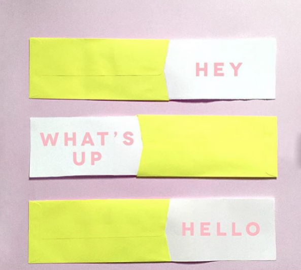 """""""Hey, What's Up, Hello"""" business cards"""