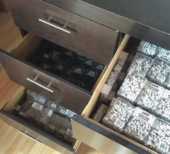 desk drawers, office drawers, office supplies, push pins, boxes, organization