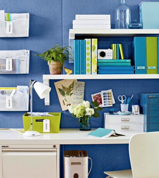 blue and white, white accents, office decor, labels, desk, workspace