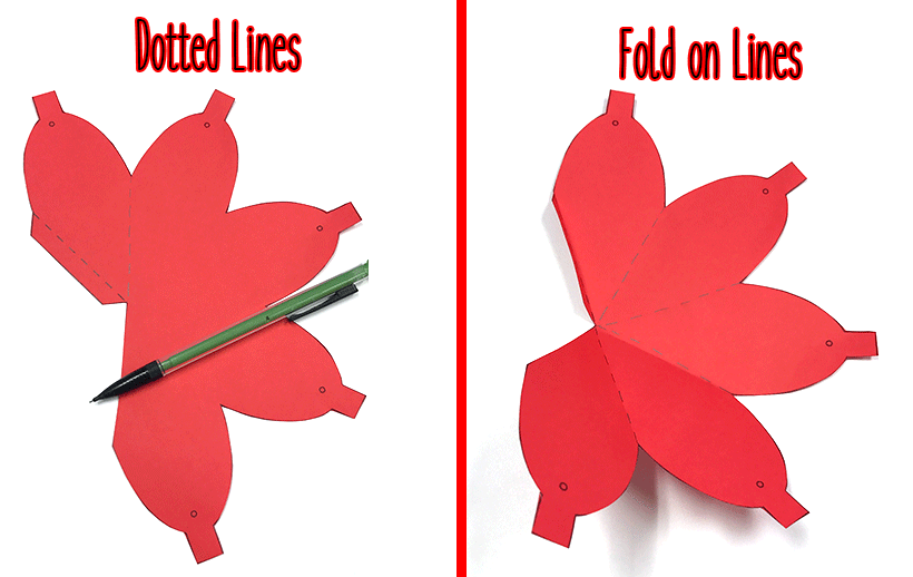 Christmas light shaped folded along dotted lines