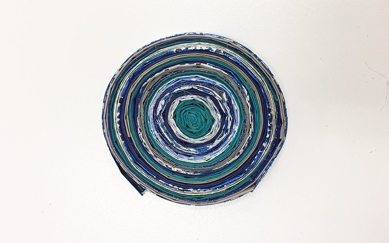 Make DIY Drink Coasters from Wrapping Paper Scraps, wrapping paper, silver, blue, circle, coaster