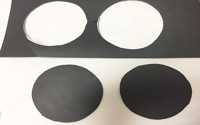 Make DIY Drink Coasters from Wrapping Paper Scraps, black cardstock, circles, cut, coaster bottoms